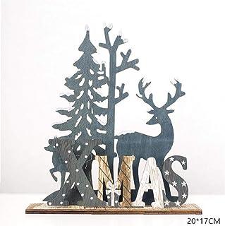 PiniceCore Naturale Xmas Elk Artigianali in Legno 'Albero di Natale Noel Decorazione di Natale per La Casa in Legno Regalo...