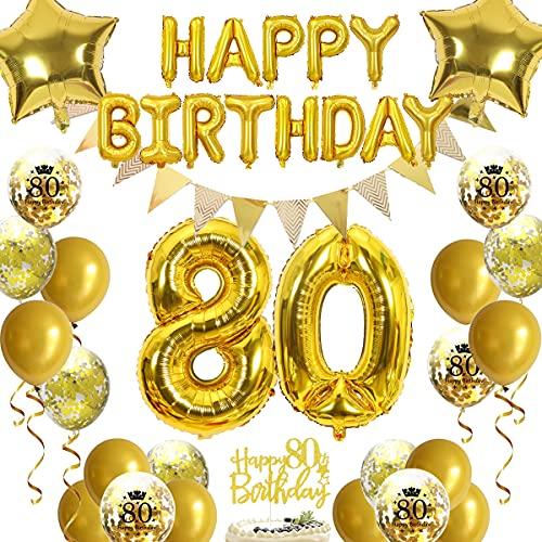 80-årsdag dekorationer guld för män kvinnor, grattis på 80-årsdagen banderoller nummer 80 ballonger stjärnfolie ballonger konfettiballonger 80-årsdag tårtdekoration för mamma pappor 80-årsdag
