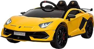 TrueMax 12V Kids Ride on Car Lamborghini Aventador SV J w/ Remote Control, Sound System, & Hydraulic Doors (Yellow)