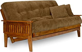 Nirvana Eastridge Queen Futon Set Bundle with 8-Inch Mattress and Cover, Oxford Bronze