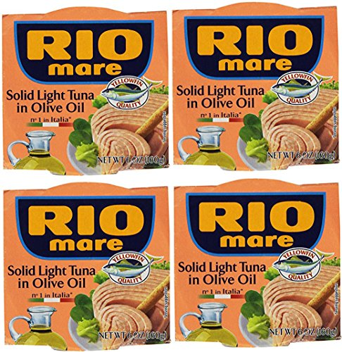 Rio Mare Solid Light Tuna in Olive Oil (Pack of 4, 6-oz cans)
