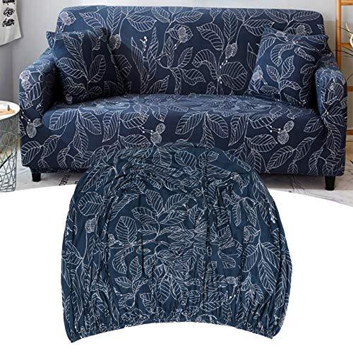 SZHWLKJ Blue Leaf Elastic, se utiliza para 3 sofás tapizados, con un estilo moderno suave y denso de elasticidad, 4 piezas de funda elástica de sofá lavable protector de muebles
