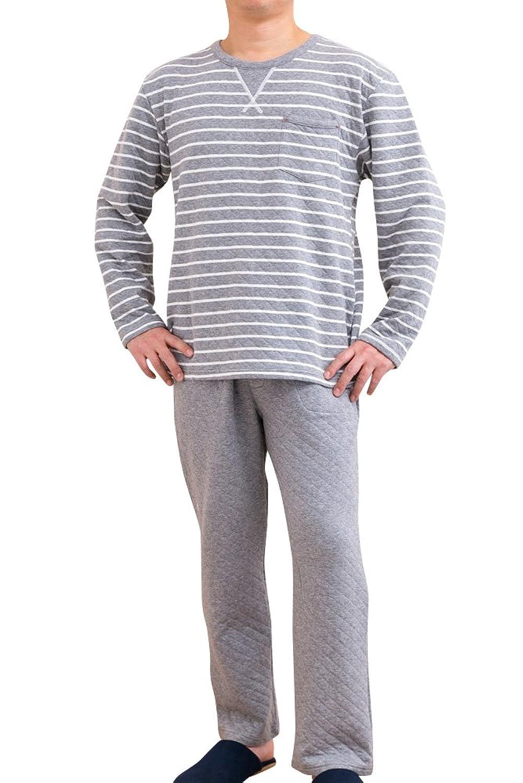 ケーズアイ メンズパジャマ 綿100% 中わたニットキルト地ボーダー かぶりタイプ 長袖?長パンツ 冬向き商品