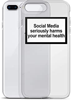 Social Media Seriously Harms Your Mental Health Soft Silicone Clear Cover case for iPhones X XR XS Max 6 7 8 Plus 5 5s 11 Pro max,for iPhones 11pro max,2 Soft case