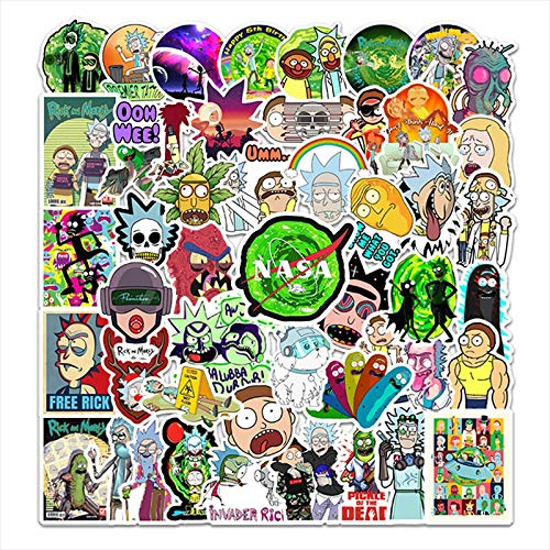 YMSD 50pcs no repetitiva Rick and Morty maleta maleta maleta portátil impermeable pegatinas extraíbles
