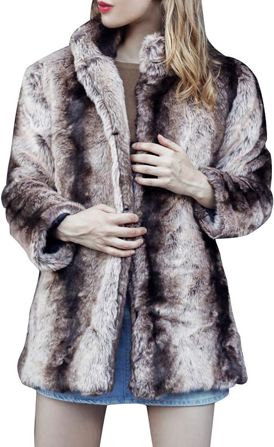 Kangma Women Casual Solid color Notch Collar Autumn Winter Faux Fur Coat Outwear