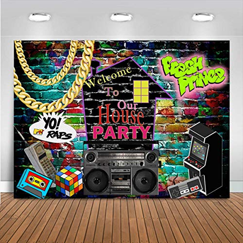 Mocsicka Hip Hop Graffiti Theme Photography Backdrops 80's 90's Colorful Brick Wall Photo Booth Vinyl Retro Music Rock…