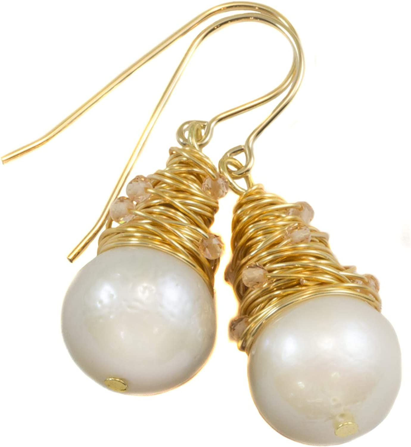 White Freshwater Cultured overseas Pearl Earrings Large Messy supreme Wi Goldtone
