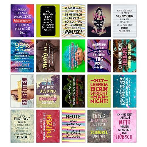 TypeStoff 20er Postkarten-Spar-Set – Funny – DIN A6, 20 Verschiedene Motive mit Sprüchen, Zitaten und Aphorismen DIN A6 (Funny)