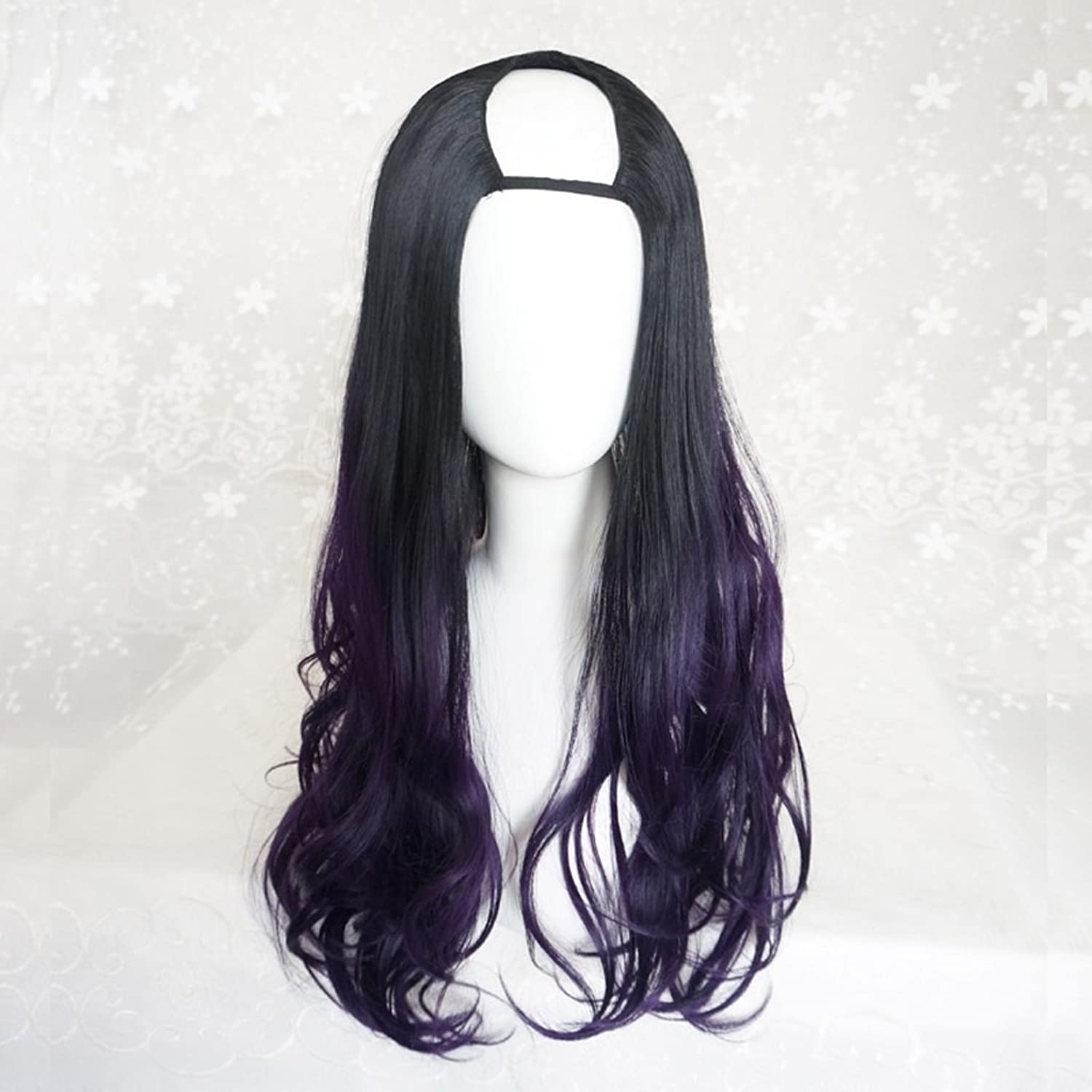 Large Wave curl Wig Black Gradient gold, Women's Cosplay Long MicroVolume Wig, Sexy Fluffy Synthetic lace Wig HUACANG (color   Black and Purple)