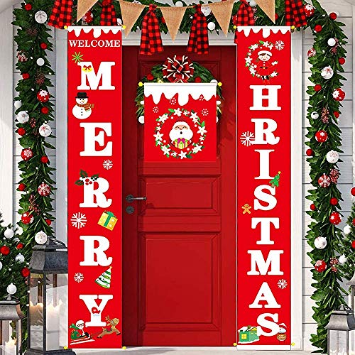 Vanely Merry Christmas Front Door Banner Outdoor Indoor Xmas Decorations Ornaments Holiday Welcome Porch Sign New Year Home Party Supplies(Red)
