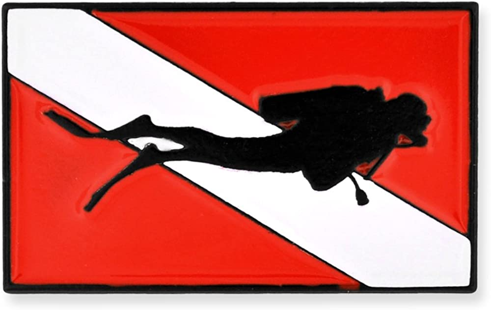 PinMart Scuba Diver Red and White Diving Flag Enamel Lapel Pin