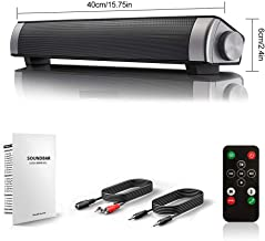 [New 2019 Upgraded] Sound Bar Wired and Wireless Bluetooth Home Theater TV Stereo Speaker with Remote Control,TF Card-Surround SoundBar TV/Cellphone/Tablet,2x5W Compact Sound Bar 2.0 Channel