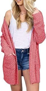 Yskkt Womens Plus Size Loose Boho Fuzzy Open Front Long Cardigans Popcorn Sherpa Slouchy Sweater Coats