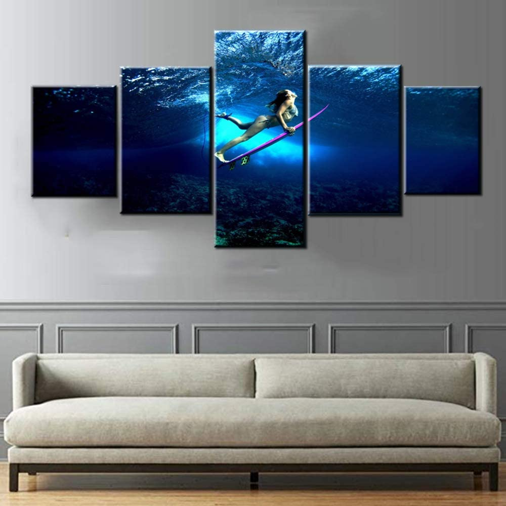 Surfing Sports Paintings for Max 55% OFF Living Room Sexy latest 5 Canvas Panel Gir