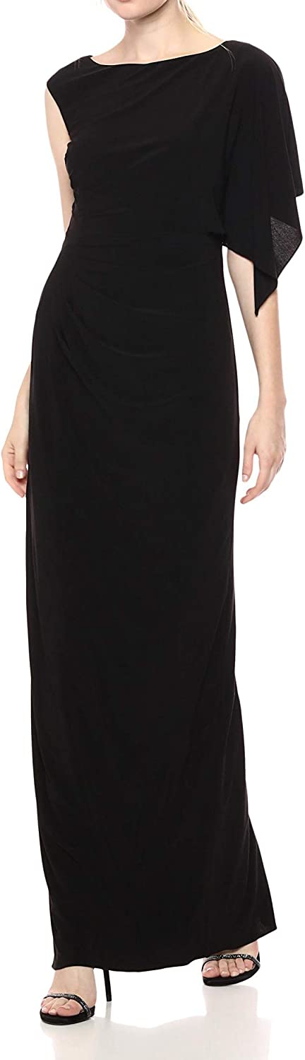 Adrianna Papell Women's Long Jersey Dress with Ruched Bodice