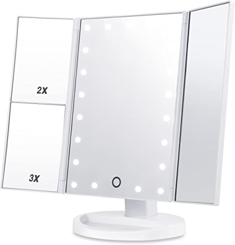 HAMSWAN Specchio Trucco, 3 Lati Specchio per Trucco, Touchscreen LED Dimmerabile Pieghevole Rotazione Regolabile a 18...
