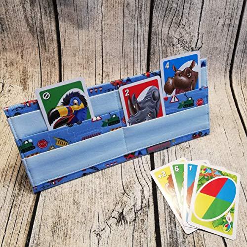 Spielkartenhalter Baustelle, Kartenhalter aus Stoff für Kinder, Senioren oder Menschen mit Handicap, Spielkartenständer, Kartenständer, Karten Halter, Karten Ständer, Sammelkarten, Kartenspiel