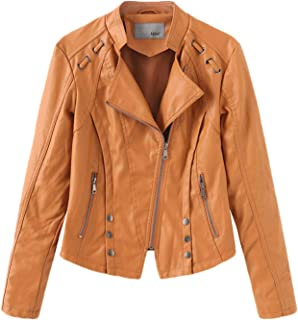NXH® Women's PU Motorcycle Leather Jacket Lapel Collar Slanted Zip Blazer Black S