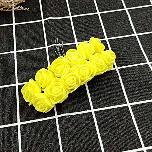 mezly 12 pcs/lot Simulation Mini Pink Artificial Flower Foam Flower DIY Ball Flower Headdress Garland Decoration Wedding Wedding Flo- Artificial Grass- Summer wreath-yellow-10