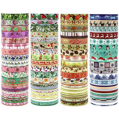 JPSOR 48 Rolls Washi Tape Set, 8mm Wide Decorative Masking Adhesive Tape Four Season Paper Tape, Great for DIY, Craft, Gift, Scrapbook-Decorative, Multi-Purpose (Colorful)