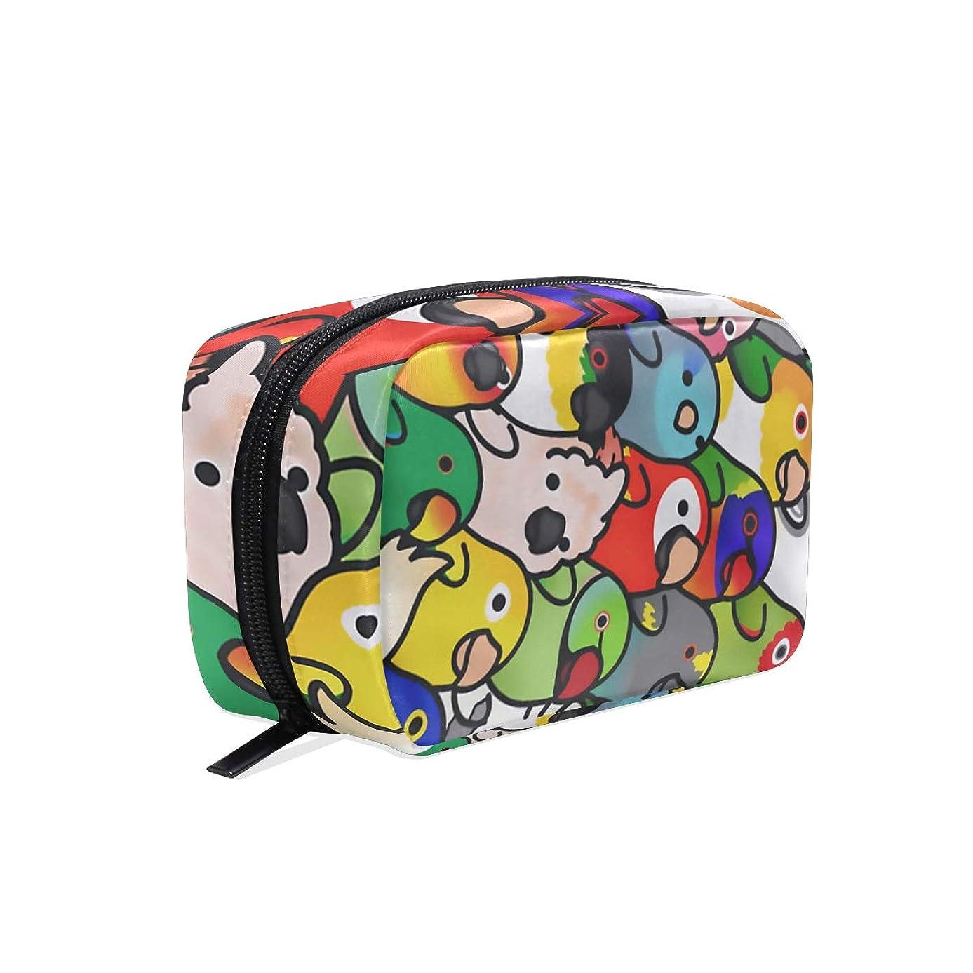 速い調べる飼い慣らす鳥 鸚鵡 こんごういんこ 化粧品袋 ジッパーと繊細な印刷パターン付き 列車 旅行 荷物梱包用 女の子へのプレゼント Parrots Lovebird Macaw