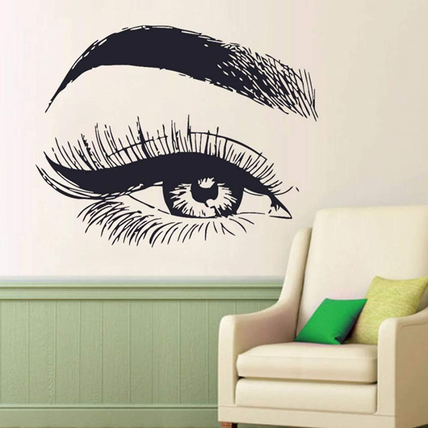 Eye Eyelashes Wall Decal Sticker Lashes Eyebrows Brows Beauty Salon Vinyl Art Decals Girl Bedroom Decor 53X42CM