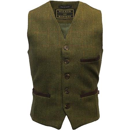 Walker & Hawkes - Mens Tweed Waistcoat Formal Teflon Dress Gilet - Dark Sage - 2XL