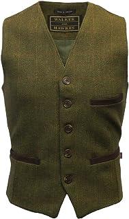 Walker and Hawkes Walker & Hawkes - Mens Tweed Waistcoat Formal Teflon Dress Gilet, 3XL, Green