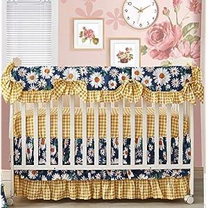 Brandream Baby Girl Crib Rail Cover Sweet Daisy Floral Nursery Bedding Long Front Teething Guard Vintage Farmhouse Crib Protector Wrap, 100% Cotton