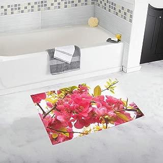 Flowering Quince Japan Pink Spring Flowers Shrub Custom Non-Slip Bath Mat Rug Bath Doormat Floor Rug for Bathroom 20 X 32 Inch