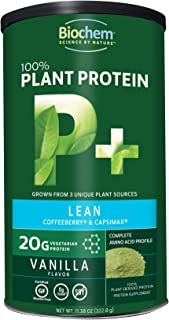 Biochem 100% Plant Protein - Lean - Vanilla Flavor - 11.38 Ounce - 20g Vegetarian Protein - Complete Amino Acid Profile - Keto-Friendly - Coffeeberry - Capsimax - Nutrient Rich