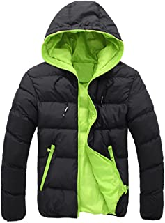 iYBUIA Men's Bright Color Slim Casual Warm Jacket Hooded Winter Thick Coat Parka Overcoat Hoodie