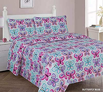 Sapphire Home 3/4 Piece Kids Boys Twin/Full Sheet Set w/Fitted, Flat & 1 Pillow Case, Fun Colorful Cute Multicolor Kids Bedding Sheet Cover