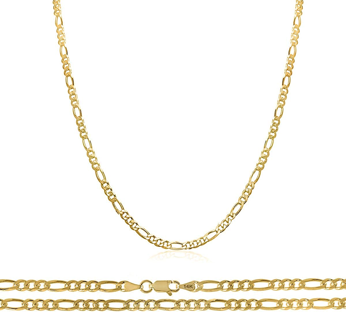 Orostar 14K Gold 2.5MM Figaro Chain in Yellow Gold   Strong & Unisex Figaro Link Necklace from Size 16-24 inches