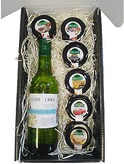 comprar comparacion Cesta de Navidad para Regalo con Vino Blanco Penedes y Tarros en Miniaturas de 30 g de Mermelada de Frambuesa, Higo, Fresa...