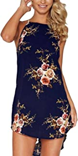 Women Crew Neck Sleeveless Sexy Undefined Halter Printed Floral Tunic Dress