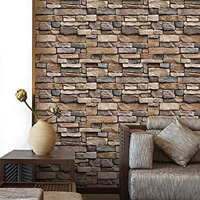 Yenhome Brick Wallpaper Peel and Stick Backsplash Kitchen Removable Wallpaper for Bedroom Living Room Wall Decor Wall Paper Room Decorations Self Adhesive Wall Covering