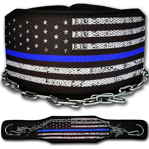 Fire Team Fit Weight Belt with Chain, Dip Belt for Weighted Pull Ups and Dips Blueline, Small (for Waist 40 Inches or Less)