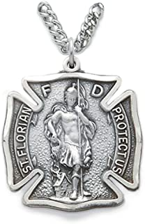 True Faith Jewelry Sterling Silver Patron of Fire Fighters Saint Florian Shield Pendant, 1 1/8 Inch