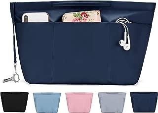 Nylon Tote Organizer Purse Insert Pocketbook Organizer Insert Handbag Divider with Handles Zipper Closure