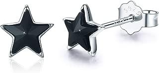 Star Earrings 925 Sterling Silver Black Crystal Star Stud Earrings Cartilage Hypoallergenic Earrings Teen Men Gifts Small Star Earring For Women (A-Black)