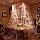 Zewik Lace Curtain Kingsize Bed Canopy Netting Princess Mosquito Net (Lt Pink)
