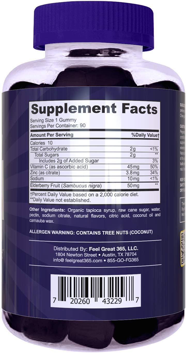 Feel Great Vitamin Co. Elderberry Gummies for Kids | Immune Support | Natural Antioxidant Immune Booster | with Vitamin C and Zinc | Gluten Free & Vegetarian | 90 Gummies