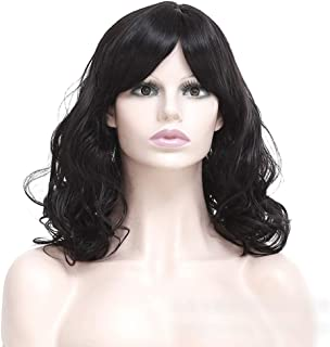 Hairpieces Hairpieces Fashian Synthetic Hair Black Fluffy Short Curly Hair for Women Full Wig for Daily Use and Party (Color : Black)