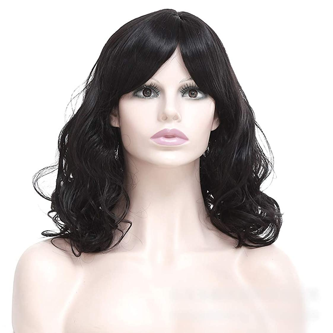 サイレンクロス安全でないWASAIO 女性の短い巻き毛のかつら髪黒ふわふわの短い巻き毛 (色 : 黒)