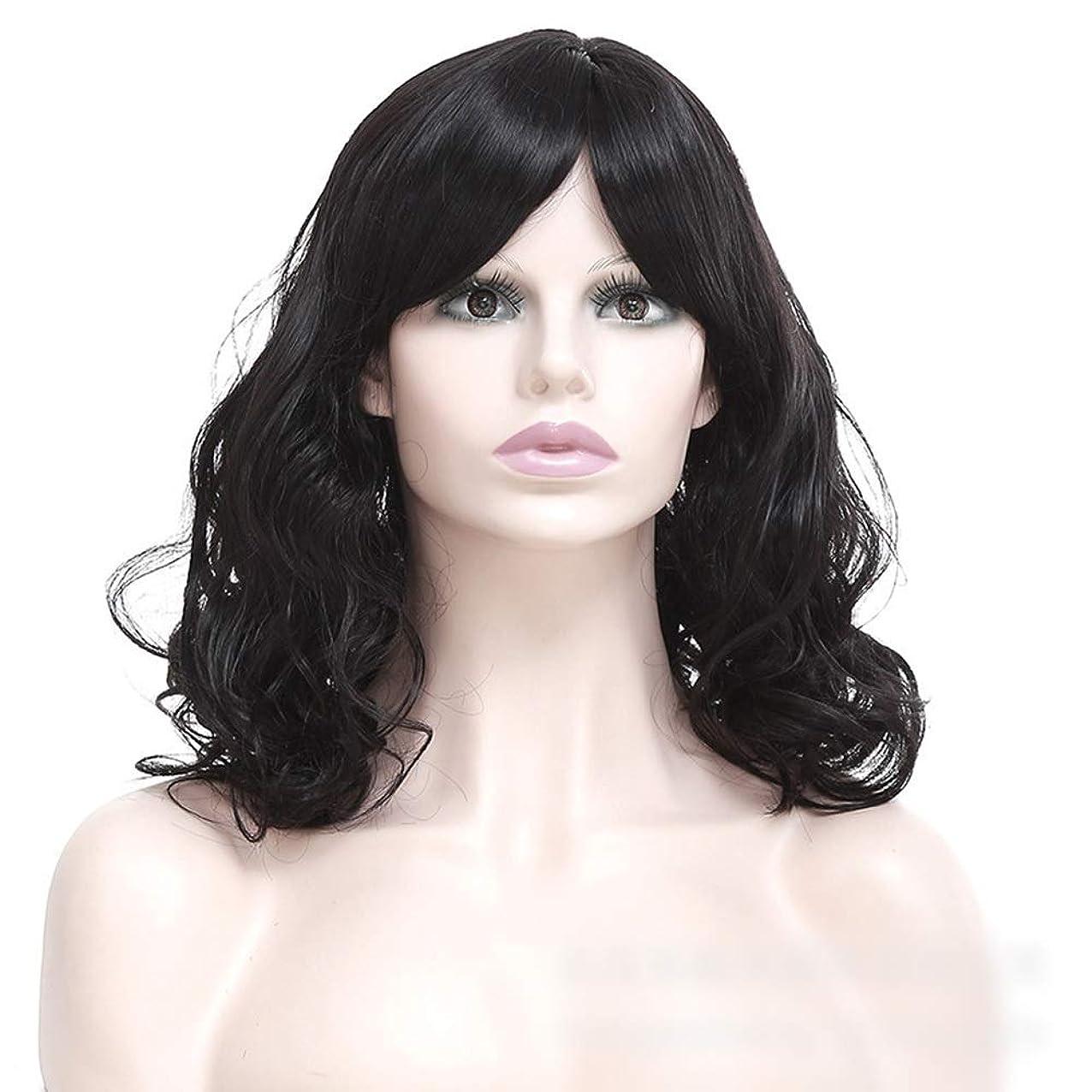 厚くするアンデス山脈コンピューターを使用するWASAIO 女性の短い巻き毛のかつら髪黒ふわふわの短い巻き毛 (色 : 黒)