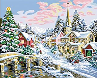 Colour Talk DIY Oil Painting, Paint by Number kit- Merry Christmas 1620 inch.