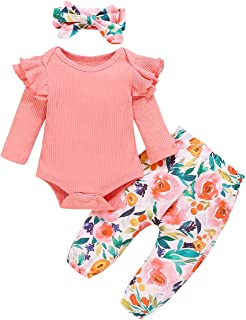 3Pcs Baby Girls Bodysuit Tops Outfits Set, Soft Cotton...