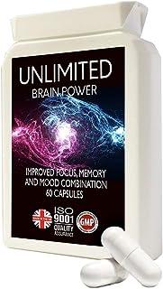 Concentración, memoria, estado ánimo, aprendizaje - Suplemento nootrópico Formulación avanzada - con L-tirosina, L-teanina, guaraná, L-taurina - Hecho en el Reino Unido